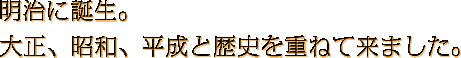 創業119年…激動の明治に誕生。大正、昭和、平成と歴史を重ねて来ました。